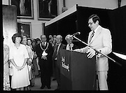 09/08/1979.08/09/1979.9th August 1979.Opening of Irish Patchwork exhibition and Presentation of the Young Designer Awards at Kilkenny Castle. Minister of State at the Department of Industry, Commerce and Energy, Ray Burke speaking at the opening.