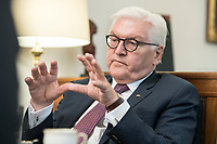 02 JUL 2018, BERLIN/GERMANY:<br /> Frank-Walter Steinmeier, Bundespraesident, waehrend einem Interview, Amtszimmer des Bundespraesidenten, Schloss Bellevue<br /> IMAGE: 20180702-01-047<br /> KEYWORDS: Bundespräsident