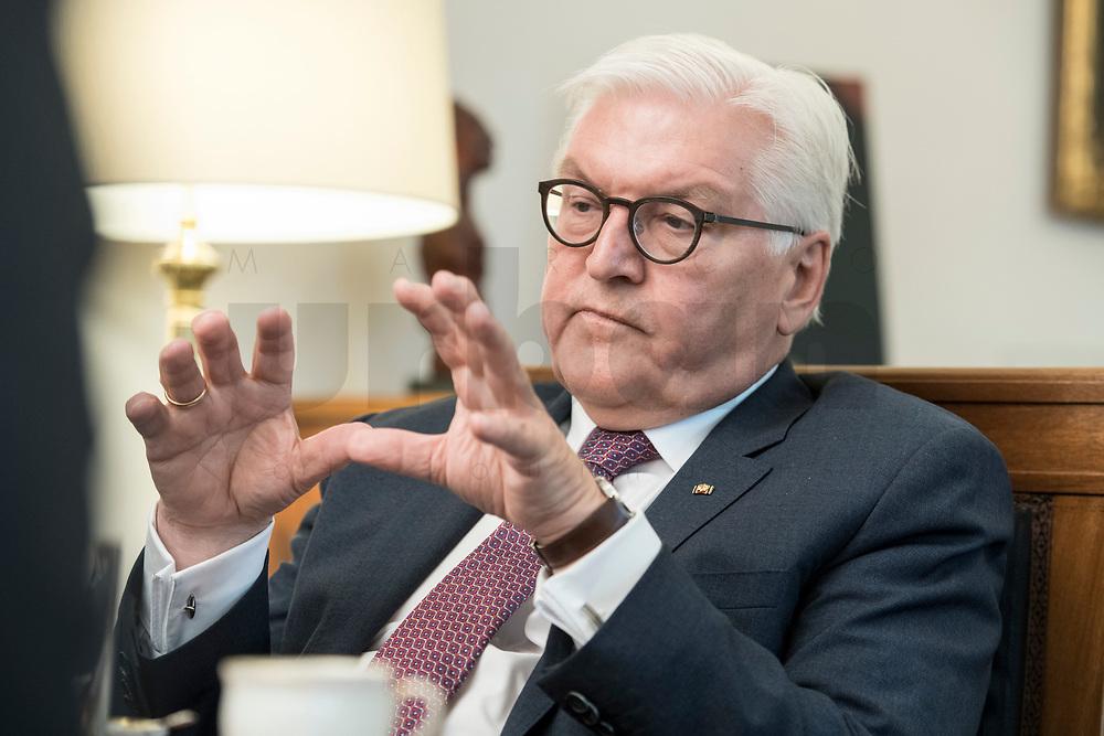 02 JUL 2018, BERLIN/GERMANY:<br /> Frank-Walter Steinmeier, Bundespraesident, waehrend einem Interview, Amtszimmer des Bundespraesidenten, Schloss Bellevue<br /> IMAGE: 20180702-01-047<br /> KEYWORDS: Bundespräsident