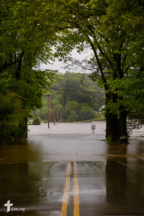 A flooded road on Wednesday, May 4, 2017, in Eureka, Mo. LCMS Communications/Erik M. Lunsford