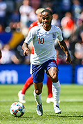 England forward Raheem Sterling (Manchester City) during the UEFA Nations League 3rd place play-off match between Switzerland and England at Estadio D. Afonso Henriques, Guimaraes, Portugal on 9 June 2019.