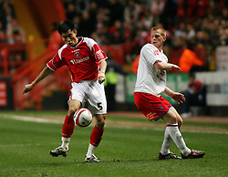 LONDON, ENGLAND - Friday, February 8, 2008: Charlton Athletic's Zheng Zhi in action against Crystal Palace's Ben Watson during the League Championship match at the Valley. (Photo by Chris Ratcliffe/Propaganda)