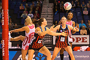 Demelza Fellowes of the Tactix competeing for the ball during the ANZ Championship Netball game between the Mainland Tactix v Adelaide Thunderbirds at Horncastle Arena in Christchurch. 20th April 2015 Photo: Joseph Johnson/www.photosport.co.nz