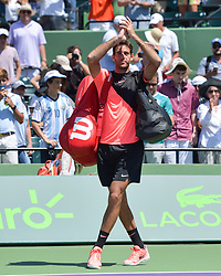 March 30, 2018 - Miami, FL, United States - KEY BISCAYNE, FL - MARCH 30: Juan Martin Del Potro (ARG) acknowledges the crowd after losing 16 67(2) to John Isner (USA) during day 12 of the 2018 Miami Open held at the Crandon Park Tennis Center on March 29, 2018 in Key Biscayne, Florida. (Credit Image: © Andrew Patron via ZUMA Wire)