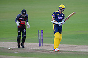 Ryan McLaren of Hampshire is bowled by Max Waller of Somerset during the Royal London One Day Cup match between Hampshire County Cricket Club and Somerset County Cricket Club at the Ageas Bowl, Southampton, United Kingdom on 2 August 2016. Photo by David Vokes.