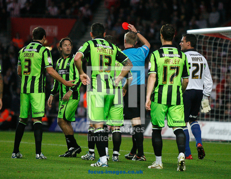 Picture by Daniel Chesterton/Focus Images Ltd. 07966 018899.19/11/11.Mauricio Taricco of Brighton is sent off during the Npower Championship match at St Marys Stadium, Southampton.