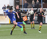 Forfar Farmington's Amy Gallagher comes close with a header - Forfar Farmington v Hutchison Vale, pre-season friendly at Station Park, Forfar<br /> <br />  - &copy; David Young - www.davidyoungphoto.co.uk - email: davidyoungphoto@gmail.com