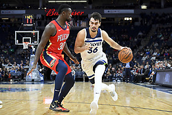 November 14, 2018 - Minneapolis, MN, USA - The Minnesota Timberwolves' Dario Saric, right, drives against the New Orleans Pelicans' Julius Randle (30) in the first half on Wednesday, Nov. 14, 2018, at Target Center in Minneapolis. (Credit Image: © Aaron Lavinsky/Minneapolis Star Tribune/TNS via ZUMA Wire)