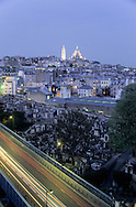 France. Paris. elevated view on the Sacre Coeur. Sacre coeur hill and church, cemetery view from Ibis hotel Place Clichy