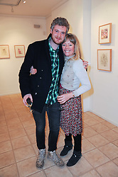 WILLIAM ROPER-CURZON and CATHERINE CAZALET at a private view of art by William Roper-Curzon entitled 'The Gathering' held at Aretha Campbell Fine Art, 3 Bedfordbury Place, London on 23rd February 2010.
