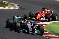 Barcellona - Gran Premio di Spagna - nella foto: Lewis Hamilton davanti a Sebastian Vettel - Mercedes   W08 - Formula 1