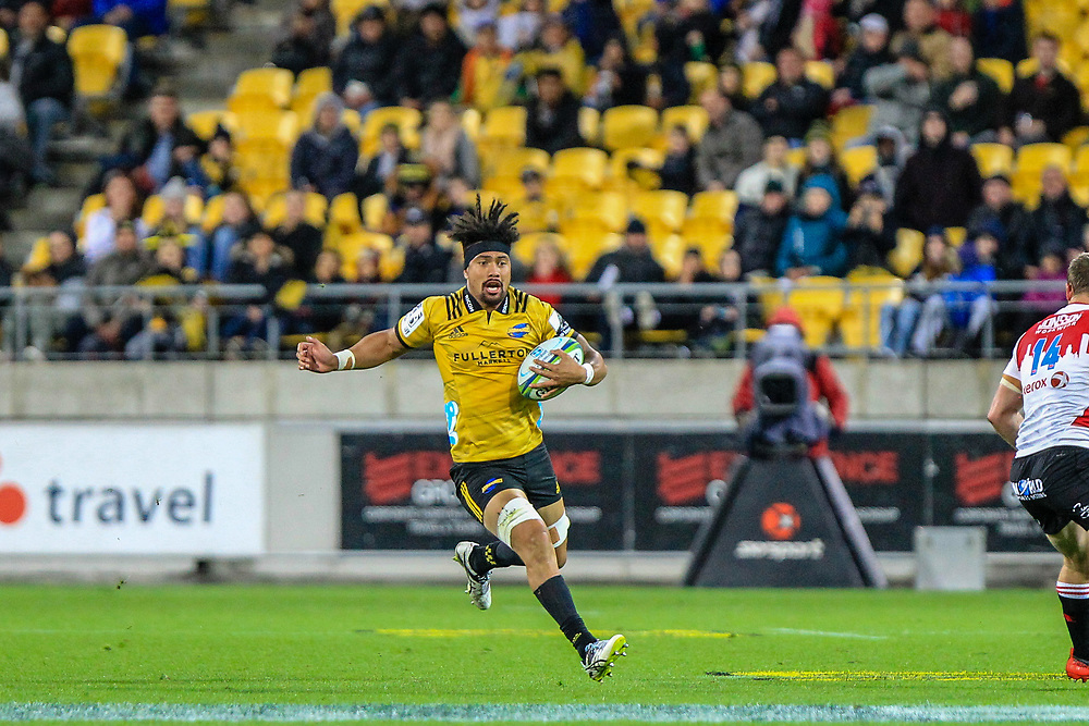 Ardie Savea runs with the ball during the Super rugby (Round 12) match played between Hurricanes  v Lions, at Westpac Stadium, Wellington, New Zealand, on 5 May 2018.  Hurricanes won 28-19.