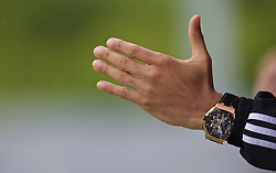 NEWPORT, WALES - Saturday, May 30, 2015: The watch of Thierry Henry during the Football Association of Wales' National Coaches Conference 2015 at Dragon Park. (Pic by David Rawcliffe/Propaganda)