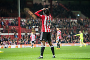 Brentford (19) Romaine Sawyers  during the EFL Sky Bet Championship match between Brentford and Derby County at Griffin Park, London, England on 26 September 2017. Photo by Sebastian Frej.