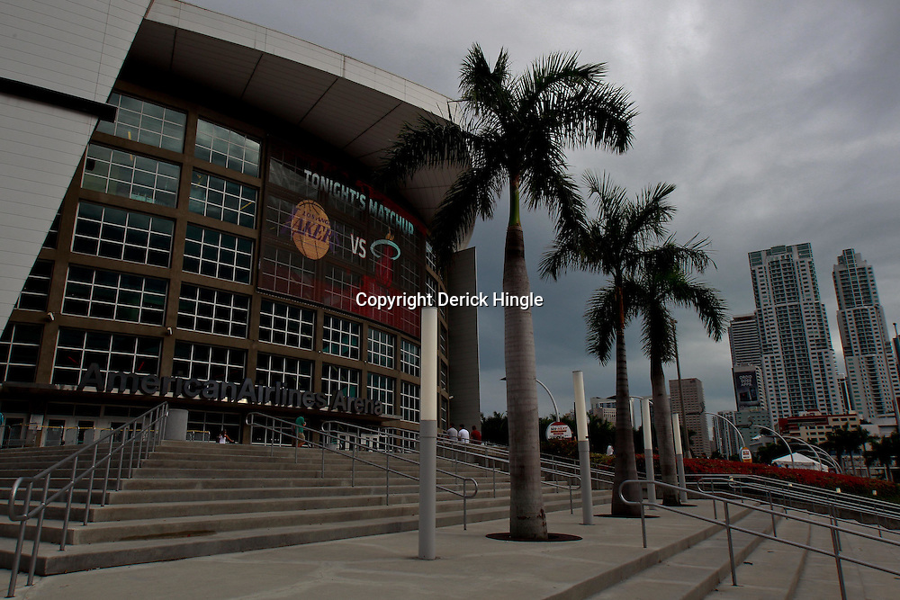 March 10, 2011; Miami, FL, USA; A general view outside prior to a game between the Miami Heat and the Los Angeles Lakers at the American Airlines Arena.    Mandatory Credit: Derick E. Hingle