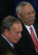 Mayor Michael Bloomberg and Colin Powell at the signing of the Edward M.Kennedy Serve America Act at the SEED School in Washington, DC on April 21, 2009.  Photo by Dennis Brack