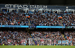A general view of the Etihad Stadium as Manchester City celebrate their seventh goal in front of dejected Stoke City players - Mandatory by-line: Matt McNulty/JMP - 14/10/2017 - FOOTBALL - Etihad Stadium - Manchester, England - Manchester City v Stoke City - Premier League