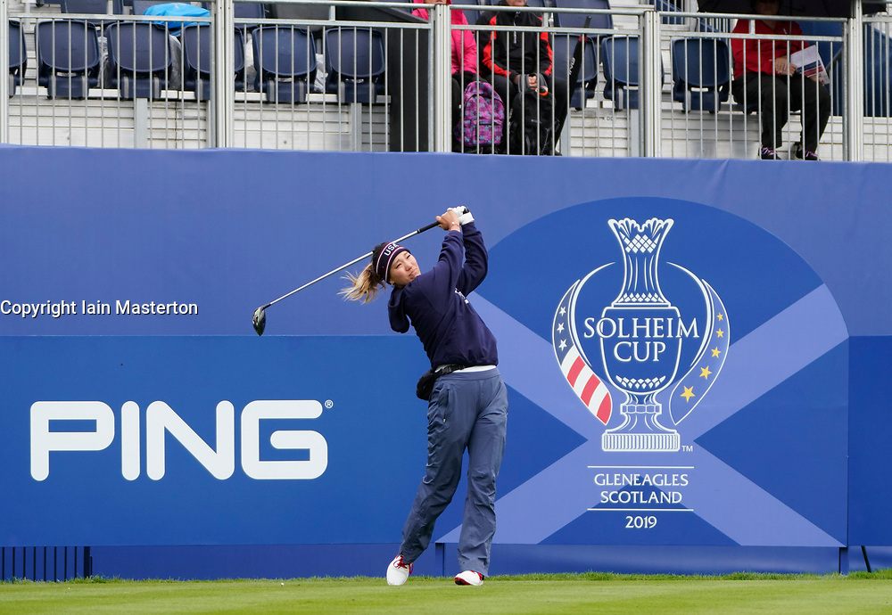 Auchterarder, Scotland, UK. 12 September 2019. Final practice day at 2019 Solheim Cup on Centenary Course at Gleneagles. Pictured; Annie Park on the 1st tee.  Iain Masterton/Alamy Live News