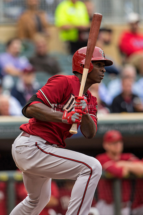 MINNEAPOLIS, MN- SEPTEMBER 24: Didi Gregorius #1 of the Arizona Diamondbacks bats against the Minnesota Twins on September 24, 2014 at Target Field in Minneapolis, Minnesota. The Twins defeated the Diamondbacks 2-1. (Photo by Brace Hemmelgarn) *** Local Caption *** Didi Gregorius