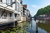 Homes along the canal in Gorichem, Netherlands are attached to each other, rise up to three stories and built on pilings into the water.