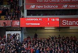 LIVERPOOL, ENGLAND - Sunday, March 31, 2019: Liverpool's scoreboard records 2-1 victory over Tottenham Hotspur after the FA Premier League match between Liverpool FC and Tottenham Hotspur FC at Anfield. (Pic by David Rawcliffe/Propaganda)