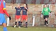 Melissa Fletcher and Emma Follis celebrate taking the lead during the FA Women's Cup match between Crystal Palace LFC and Reading Women at Bromley, England on 8 February 2015. Photo by Michael Hulf.