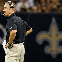 September 23, 2012; New Orleans, LA, USA; New Orleans Saints defensive coordinator Steve Spagnuolo during the second quarter of a game against the Kansas City Chiefs at the Mercedes-Benz Superdome. Mandatory Credit: Derick E. Hingle-US PRESSWIRE