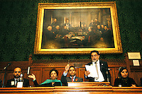 LONDON 9 Nov. 2005...Professor Nazir Shawl, Executive Director Justice Foundation Kashmir Centre, reading his speech. To his left is Shaista Aziz of Oxfam and to his right is Shahid Malik MP, Dr. Maleeha Lodhi, High Commissioner of Pakistan and Waseem Yaqub of Islamic Relief....The Justice Foundation Kashmir Centre London together with the All-Party Parliamentary Group (APPG) on Kashmir organised a meeting in the House of Commons entitled ?Kashmir After the Earthquake ? Rebuilding Together.
