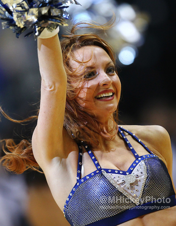 April 13, 2012; Indianapolis, IN, USA; An Indiana Pacers cheerleader dances on the court during a timeout at Bankers Life Fieldhouse. Indiana defeated Cleveland 102-83. Mandatory credit: Michael Hickey-US PRESSWIRE