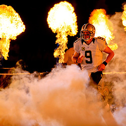 Sep 20, 2015; New Orleans, LA, USA;  New Orleans Saints quarterback Drew Brees (9) is introduced prior to a game against the Tampa Bay Buccaneers at the Mercedes-Benz Superdome. Mandatory Credit: Derick E. Hingle-USA TODAY Sports