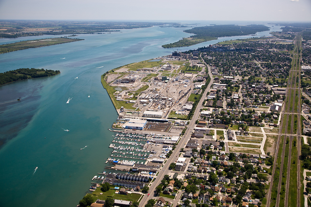 Overview of Wyandotte, MI, south of Detroit along the Detroit River