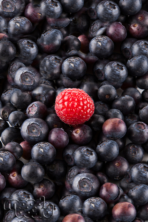 Detail shot of blueberries and raspberry