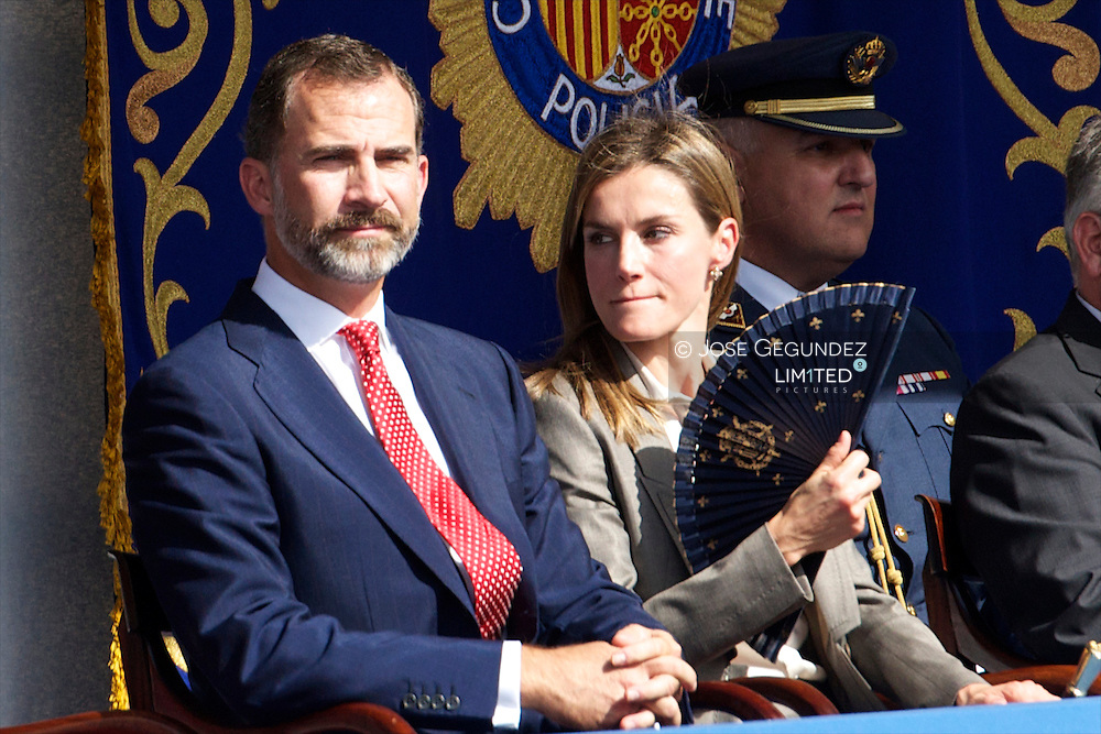 Prince Felipe of Spain and Princess Letizia of Spain attends the Central event of the Feast Day of the Police at Palacio Arzobispal on October 2, 2013 in Alcala de Henares, Spain