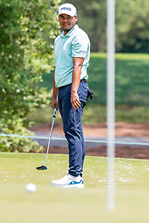 May 4, 2019 - Charlotte, NC, U.S. - CHARLOTTE, NC - MAY 04: Sebastian Munoz watches his putt approach the cup on the 3rd hole during the third round of the Wells Fargo Championship at Quail Hollow on May 4, 2019 in Charlotte, NC. (Photo by William Howard/Icon Sportswire) (Credit Image: © William Howard/Icon SMI via ZUMA Press)