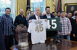 U.S President Donald Trump meets and greets with the Chicago Cubs in the Oval Office of the White House in Washington, DC, on June 28, 2017. Photo by Olivier Douliery/ Abaca