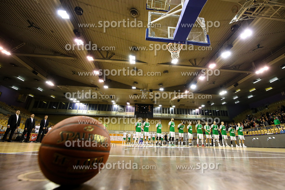 Players prior to basketball match between KK Petrol Olimpija and KK Krka Novo mesto at Superpokal 2017, on September 28, 2017 in Hala Tivoli, Ljubljana, Slovenia. Photo by Matic Klansek Velej / Sportida.com