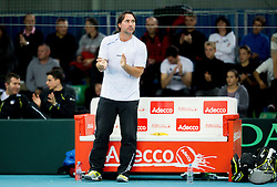 Blaz Trupej of Slovenia during 4th match of Davis cup Slovenia vs. Portugal on February 2, 2014 in Kranj, Slovenia. Photo by Vid Ponikvar / Sportida