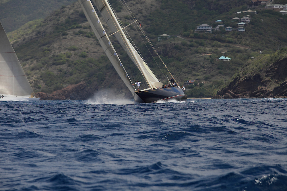 Classic yachts race in the 2010 Antigua Classica Regatta.