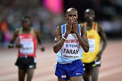 Mo Farah of Great Britain celebrates crossing the finsish line - Mandatory byline: Patrick Khachfe/JMP - 07966 386802 - 04/08/2017 - ATHLETICS - London Stadium - London, England - Men's 10,000m Final - IAAF World Championships