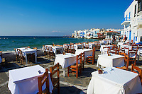 Grèce, Les Cyclades, Ile de Mykonos, Ville de Chora, quartier de Little Venice // Greece, Cyclades, Mykonos island, Chora, Mykonos town, Little Venice