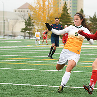 4th year defender Angela Lalonde (5) of the Regina Cougars in action during the Women's Soccer Home Game on October 21 at U of R Field. Credit Matt Johnson/Arthur Images