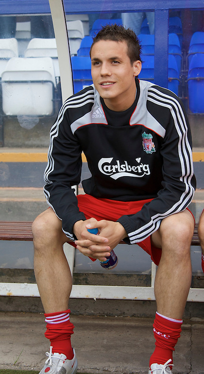 BIRKENHEAD, ENGLAND - Saturday, July 12, 2008: Liverpool's Philipp Degen before the first pre-season match of the 2008/2009 season against Tranmere Rovers at Prenton Park. (Photo by David Rawcliffe/Propaganda)