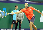 18.10.2015. Shanghai, China. Jo-Wilfried Tsonga of France hits a return against Novak Djokovic of Serbia during their mens singles final match at the Shanghai Masters tennis tournament in Shanghai, China, Oct. 18, 2015. Novak Djokovic won 2-0 and claimed the title.