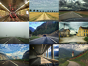 ROAD TRIP COLLAGE: Photographers Georgie Gillard and Rick Findler drove 1,973 miles and through nine countries for a friends wedding in Lake Garda, Northern Italy. Armed only with an iPhone and pushed for time, they decided to document their journey through the windscreen of their car.<br /> From top left: <br /> Boarding the Channel Tunnel in Folkestone, England. <br /> Lhuitre, France. <br /> Lonsee, Germany.<br /> Plasne, France.<br /> Are de Passy, Mont Blanc, France (centre) <br /> Tangerine, Belgium.<br /> Mezzo corona, Italy.<br /> Lake Garda, Italy.<br /> Cstelbello-ciardes, Italy. <br /> <br /> Story Picture Agency