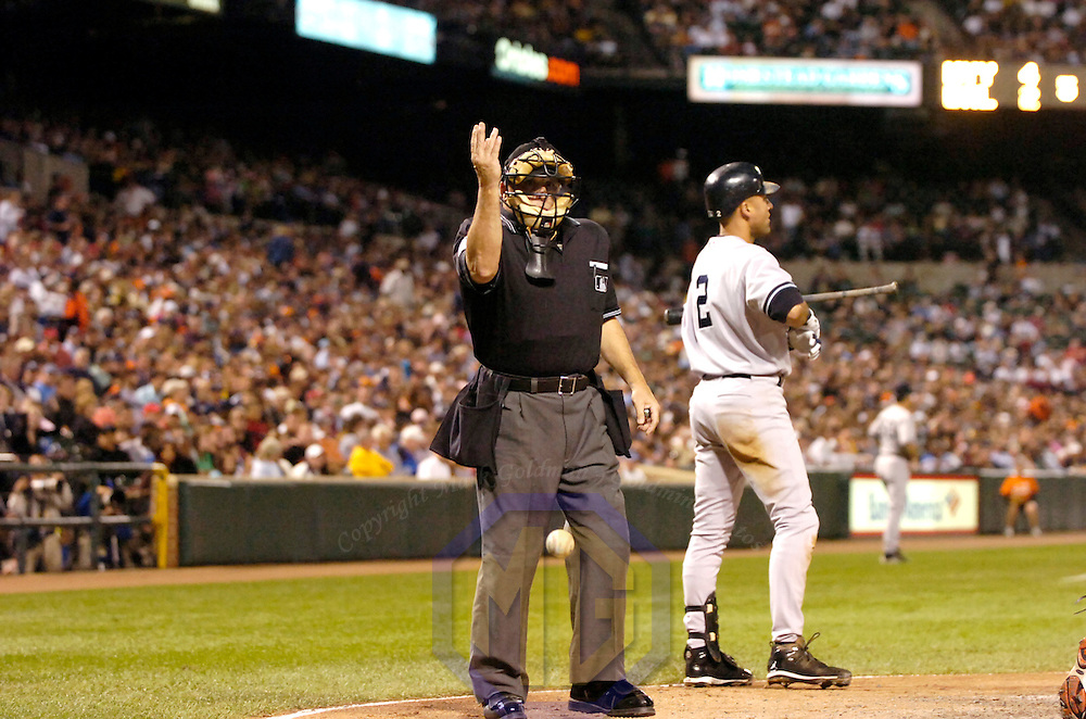 28 September 2007:  Umpire Larry Vanover in action during the game between the New York Yankees and the Baltimore Orioles.  The Orioles defeated the Yankees 10-9 in ten innings at Camden Yards in Baltimore, MD.  ****For Editorial Use Only****