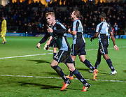 Wycombe  defender Jason McCarthy celebrates his goal to make it 2-1 during the Sky Bet League 2 match between Wycombe Wanderers and Oxford United at Adams Park, High Wycombe, England on 19 December 2015. Photo by David Charbit.