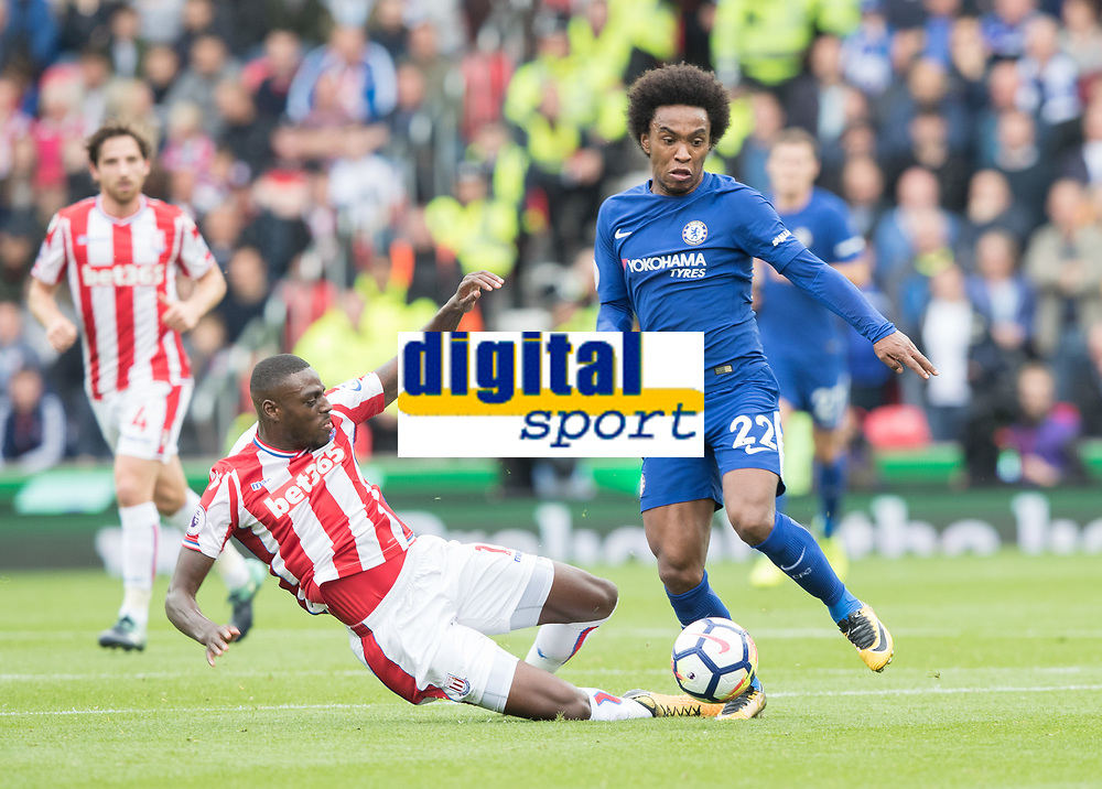 Football - 2017 / 2018 Premier League - Stoke City vs. Chelsea<br /> <br /> Willian of Chelsea and Bruno Martins Indi of Stoke City at bet365 Stadium.<br /> <br /> COLORSPORT