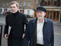 © Licensed to London News Pictures. FILE PICTURE: 29/01/2017. London, UK. . Labour party leader Jeremy Corbyn and Director of Strategy and Communications Seumas  Milne arrive at ITV Studios to appear on ITV's Peston's Politics. A BBC Panorama documentary, focusing on alleged anti semitism in the Labour Party is due to run this evening. Photo credit: Peter Macdiarmid/LNP