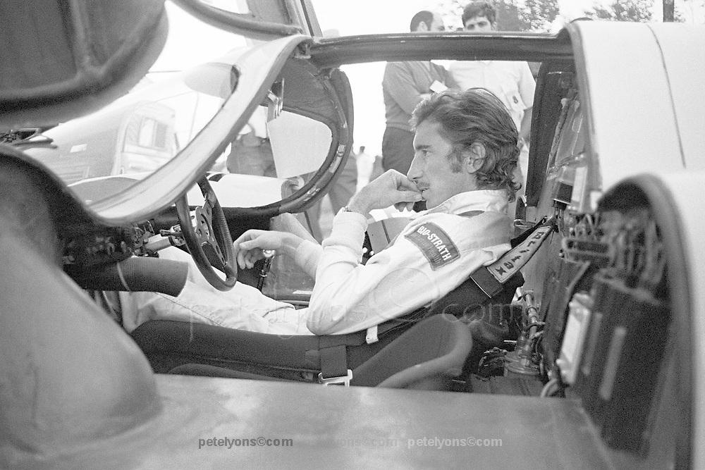 """Jo """"Seppi"""" Siffert, Porsche 917K, in pits at 1970 Watkins Glen 6-hour race"""