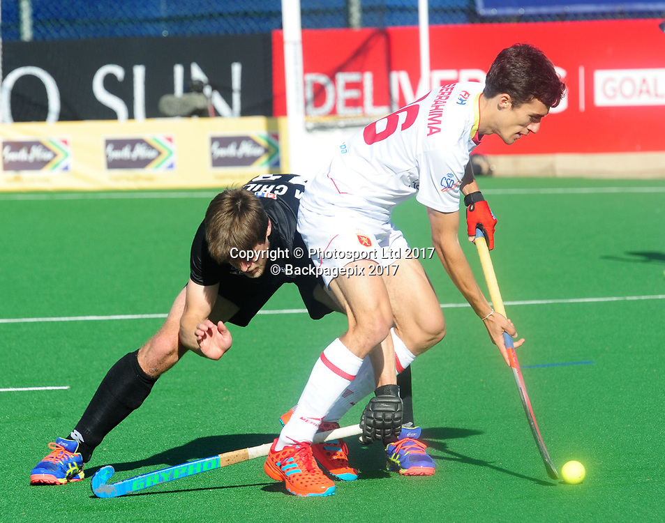 Marcus Child of New Zealand challenges Marc Serrahima of Spain during 2017 Hockey World League Men Semi Final game between Spain and New Zealand at Wits Hockey Fields in Parktown on 17 July 2017 ©Aubrey Kgakatsi/BackpagePix / www.photosport.nz